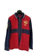 POLO RALPH LAUREN, MENS, RED & BLUE, RUGBY SHIRT COTTON LONG SLEEVE, LARGE