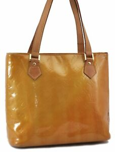 Authentic Louis Vuitton Vernis Houston Shoulder Hand Bag Yellow LV C8947