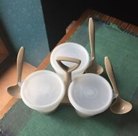 Vintage Tupperware Condiment Keeper Trio Caddy with 3 Spoons, Carry Handle