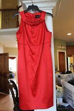 Just …. Taylor  Red Satin Sleeveless Dress 3D Bead neck Ladies sz 10   (bin100)