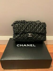 Chanel Vintage Classic Double Flap Bag Quilted Patent Medium Black