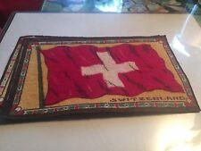 "Switzerland 1910 Era Felt Flag From cigar Box (3.5""x 6.5"")"