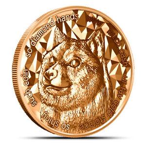 2021 Dogecoin 1 oz Copper BU Bullion Round One Ounce Coin Doge - Blockchain Mint