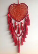 Gorgeous Handmade Red Heart Crochet Web Dream Catcher with Pom Poms & Tassels