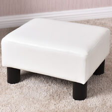 Small Ottoman Footrest PU Leather Footstool Rectangular Seat Stool White