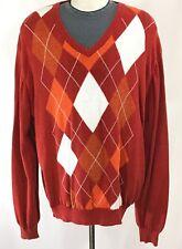 LYLE & SCOTT SCOTLAND Argyle Sweater Pullover Jumper V-Neck  | sz XXL