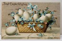 Best Easter Wishes Basket of Eggs Embossed 1908 Postcard D7