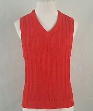 Giorgio Armani ~ Red Cable Knit Sweater Vest ~ Cotton ~ Authentic ~ Medium
