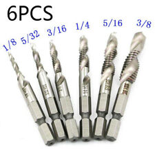 6xHSS 1/4INCH Hex Shank Combination SAE Drill Tap Bit Deburr Countersink Set pro