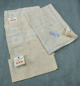 Vintage EMBROIDERED Hand Crafted NAPKIN Linens and TABLE LINEN Lot of 7