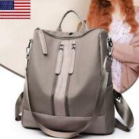 Women's Leather Backpack Rucksack Anti-Theft Black/Khaki School Shoulder Bag OCC