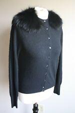 "Vtg Strawbridge & Clothier 36"" Bust Black Cashmere Sweater Cardigan Fur Collar"