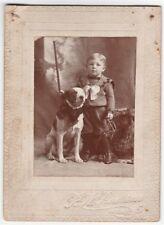 SUPER Cute ca 1890 Victorian Photo - Dog w Bow tie & Boy Holding Trap Arcade NY
