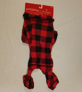 Holiday Buffalo Check Flannel Dog and Cat Matching Family Pajamas - Red - S