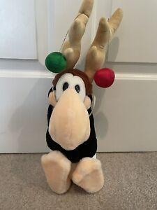 """Vintage Dakin 16"""" Opus the Penguin Reindeer Plush Bloom County Christmas 1985"""