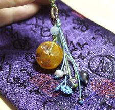 Old Tibetan Yellow Egg Yolk Amber Bead Handmade Pearl Aquamarine Crystle