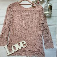 Phase Eight Size 12 pink lace floral crochet long sleeve semi sheer smart top