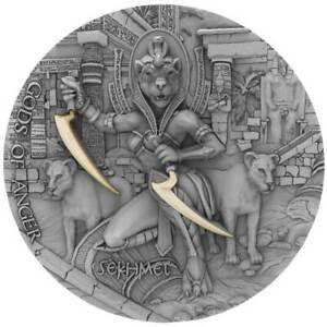 2021 Niue 2 oz Gods of Anger Sekhmet High Relief Antique Finish Silver Coin