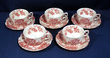 Johnson Brothers Bros China Pink Red English Chippendale 5 Cup and + Saucer Sets