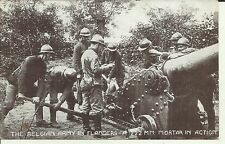 WW1 YMCA HUT FUND POSTCARD BELGIAN ARMY IN FLANDERS 222mm MORTAR IN ACTION