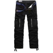 Men Winter Thicken Fleece Lining Cargo Work Combat Pants Pocket Pleated Trousers