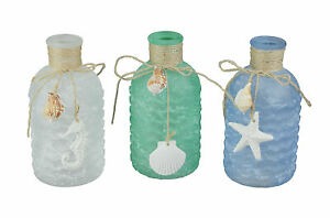 Blue Green White Frosted Sea Glass Style Decorative Bottles Beach Design Decor