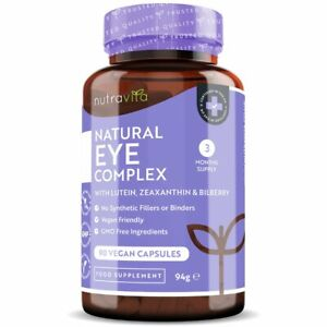 Natural Eye Complex - Lutein Zeaxanthin Bilberry Zinc Vitamins A, B12 Eye Health