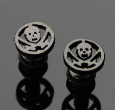 2 unidades Fake Plug expansor oreja pendientes motivo: calavera ywhy 131 negro