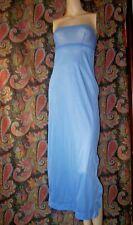 Vintage Strapless Blue Nylon Formal Length Empire Slip Nighty Lingerie 32