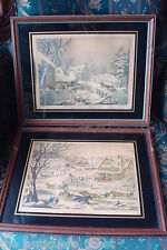 "Currier & Ives, NY, 2 framed lithograph:""A Home in the Country"" ""Winter Morning"""