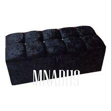 36INCH 3FT BLACK CRUSHED VELVET 4 DIAMOND OTTOMAN STORAGE BEDDING TOY BOX NEW