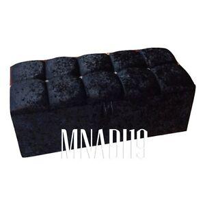 36 INCH 3FT BLACK CRUSHED VELVET 4 DIAMOND OTTOMAN STORAGE BEDDING TOY BOX NEW