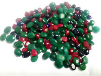 100 cts BEAUTIFUL NATURAL RUBY EMERALD SAPPHIRE MIX LOOSE GEMSTONE LOT A11