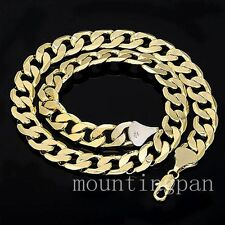 "23.6"" 12mm Wide 24k Yellow Gold GF Polished Cuban Chain Mens Necklace"
