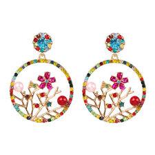 Crystal Pave Hoop Pearl Bee Butterfly Drop Earrings Delicate Flower Statement