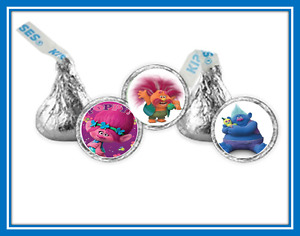 108 Trolls Favor Hershey Kiss Labels Stickers Showers Birthday More