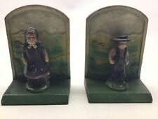 Vintage Cast Iron Amish Man And Woman Bookends