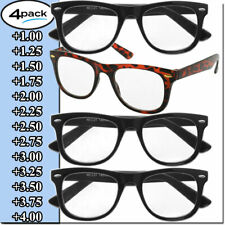 Mens Womens Reading Glasses 4 Pairs Unisex Classic Retro Style Readers All Power