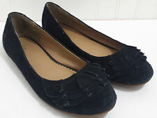 LANDS END Black Flats Ladies 6M Suede Leather Slip On Loafers Ruffle on Toe