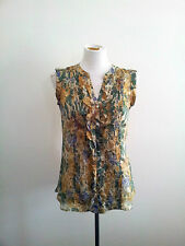 Massimo Dutti size 36 floral silk sleeveless shirt with round neck & front split
