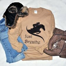 Clearance!Limited edition design long sleeve equine horse themed tshirt unisex L