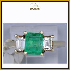 14K 1.35 CT EMERALD RING YELLOW GOLD DIAMONDS 3 STONE EMERALD RING SIZE 5.5 (md7
