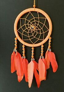 ORANGE DREAM CATCHER 11cm ACROSS GIRLS BOYS BEDROOM NURSERY DECOR DREAMCATCHER