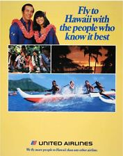UNITED AIRLINES HAWAII Vintage Travel poster 1984 22x28