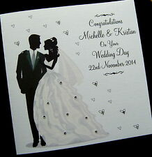 """LARGE 8""""x8"""" Luxury Personalised Wedding Day Anniversary Congratulations Card"""