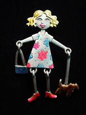 "Walking Dog w/ Movable Parts Pin ""Jj"" Jonette Jewelry Silver Pewter Girl"