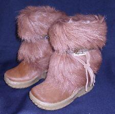 BEARPAW ~ Goat Fur Apres Ski Boots Girls Size 1 ~ NWT