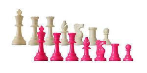 SchachQueen - Schachfiguren Kunststoff pink/weiß, KH 97mm