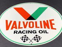 """VINTAGE VALVOLINE RACING OIL ADVERTISING 12"""" METAL SIGN GAS OIL CAR GARAGE SHOP"""
