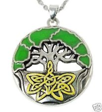 "Enamel Celtic Tree of Life Pendant With 18"" Silver Plated Necklace"